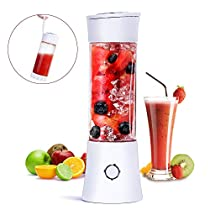 Portable Blender, Fityou 6-Blade Personal Glass Smoothie Fruit Mixer Juicer Cup,USB Rechargeable Multifunctional Travel Blender for Shakes and Smoothies,with 4000mAh Rechargeable Battery,FDA BPA Free