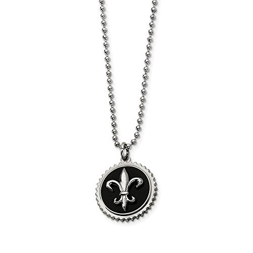 - Q Gold Jewelry Necklaces Necklace with Pendants Titanium Black Enamel Fleur de lis 24in Necklace