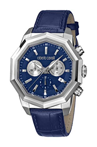 ROBERTO CAVALLI Men's RC-84 Stainless Steel Swiss Quartz Watch with Leather Calfskin Strap, Blue, 21 (Model…