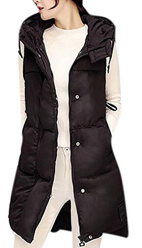 Lingswallow Womens Casual Hooded Coat Thickened Long Down Vest Jacket