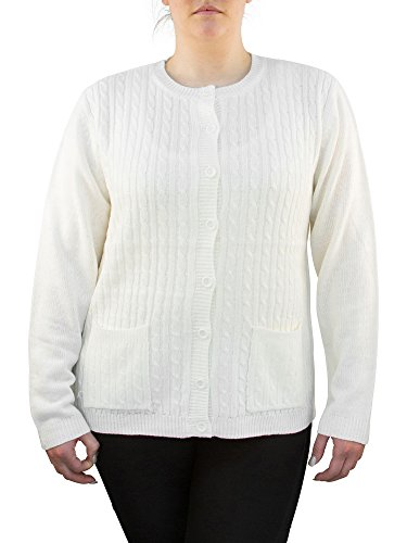 Knit Minded Long Sleeve Two Pocket Cable Knit Cardigan Sweater White XL