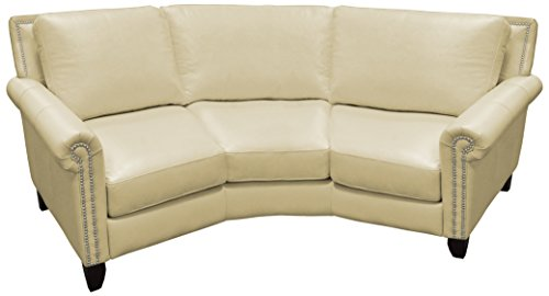 Omnia Leather Benjamin 3 Cushion Conversation Sofa in Leather, with Nail Head, Dream Celery