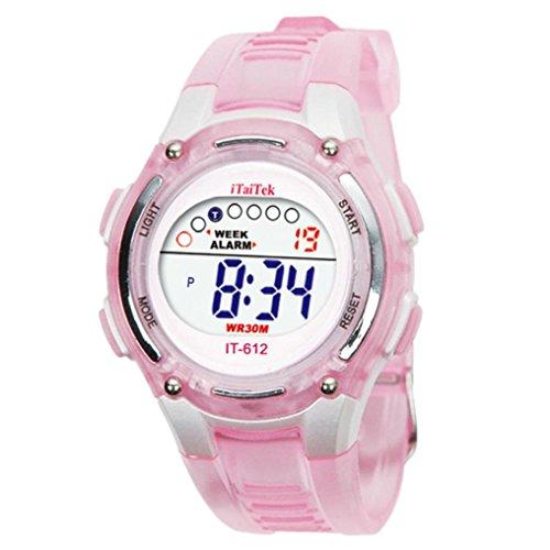 SMARTLADY Moda Niños Niñas Natación Deportes Digital Impermeable Reloj de pulsera (Morado): Amazon.es: Relojes
