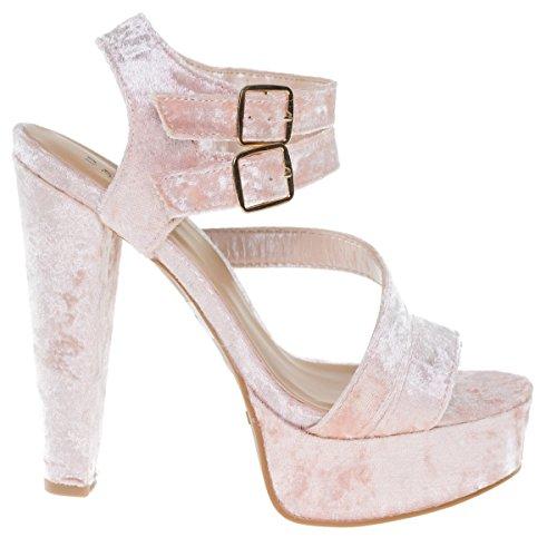 Bamboo Clarice42s Blushvel Chunky Block Heel Dress Sandal  Retro Open Toe Double Strap Shoes  7 5
