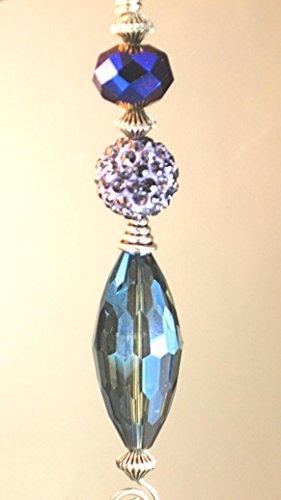 Lavender Rhinestone and Brilliant Iridescent Blue/Green/Purple Elegant Glass Ceiling Fan Pull Chain