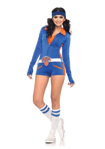 Leg Avenue NBA 3 Piece Knicks Dancer Romper, Blue/Orange, (Nba Dancers Halloween)