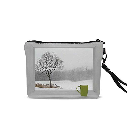 (Winter Travel Toiletry Bag,Green Teacup on a Windowsill Forest Outdoors February Snowstorm Scenic Countryside Decorative For Women Girl,9