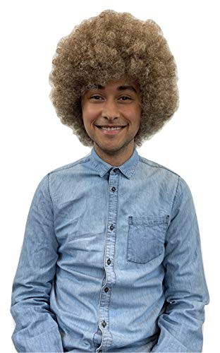 80's Painter Afro Wig with Full Beard and Mustache Set, Adult, Kids, Pet, and Combos (One Size, Economy Wig)]()