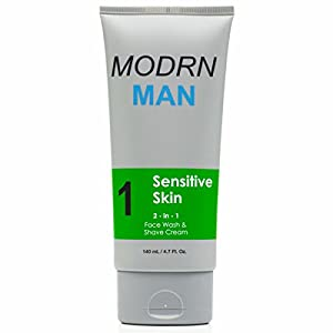 MODRN MAN 2-in-1 Face Wash & Shaving Cream for Men with Dry and Sensitive Skin | Premium Men's Facial Cleanser | Non-Irritating Shaving Cream | Fragrance Free, Natural Ingredients (4.7 oz)