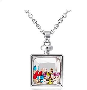 Boutique perfume bottle pendant necklace - multicolor