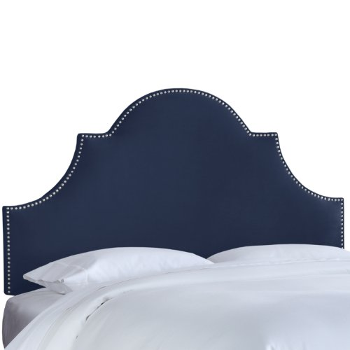Arched Velvet Upholstered Headboard (Skyline Furniture Nail Button High Arch Notched Headboard, King, Velvet Navy)