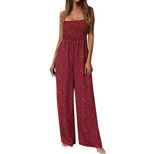 (Aniywn Women's Floral Jumpsuit Strap Sling Sleeveless Wide Leg Pants Casual Jumpsuits Rompers Wine)