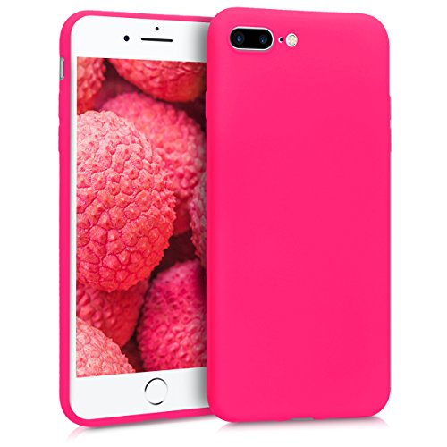 Hot Pink Rubber Case - kwmobile TPU Silicone Case for Apple iPhone 7 Plus / 8 Plus - Soft Flexible Shock Absorbent Protective Phone Cover - Neon Pink