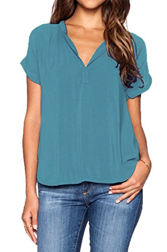 LILBETTER Womens Casual Chiffon Ladies V-Neck Short Sleeve Blouse Tops(Blue XL)