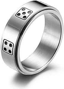 خاتم فضة للجنسين على شكل نرد مقاس 8