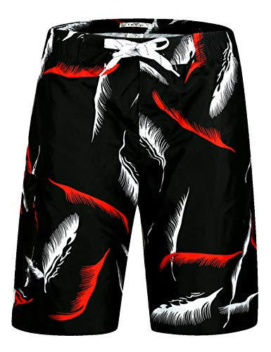 ELETOP Men's Swim Trunks Quick Dry Board Shorts Beach Holiday Swimwear Print Bathing Suits Feathers Black -