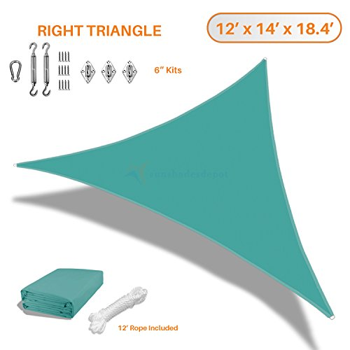 Sunshades Depot 12x14x18 Right Triangle Waterproof Knitted Shade Sail With 6 inch Kit Curved Edge Turquoise 180 GSM UV Block Shade Fabric Pergola Carport Awning Canopy Replacement Awning