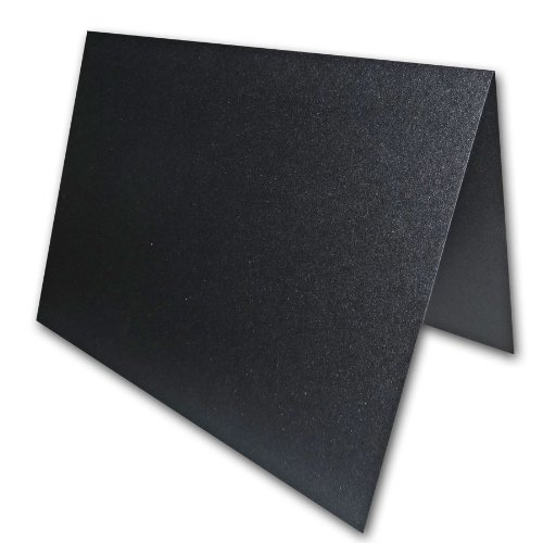Blank Metallic Black Place Cards Tent Cards - 50 Pack | Size 3.5