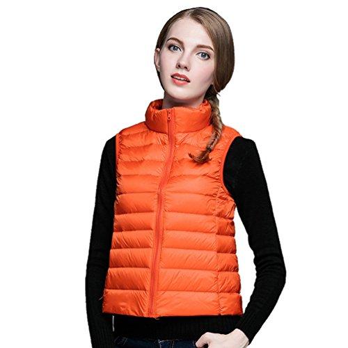 Light Sin Mangas Naranja Abajo Mujer ZKOO de Pluma Chaleco Coat Chaqueta Ultra Windproof pH0qXY