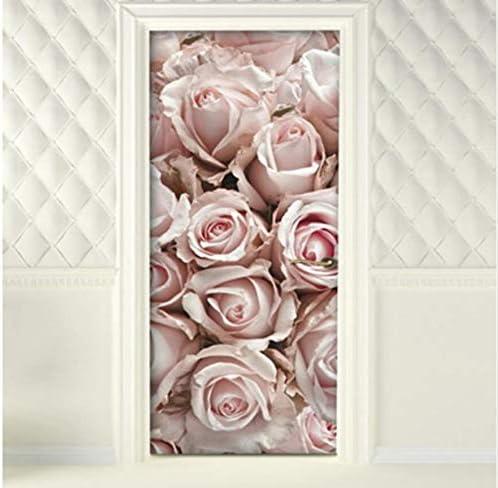 PANDABOOM 77X200Cm 3D Romantic Rose Adesivo per Porta Murale Carta da Parati Adesivo da Parete Decalcomania Autoadesiva