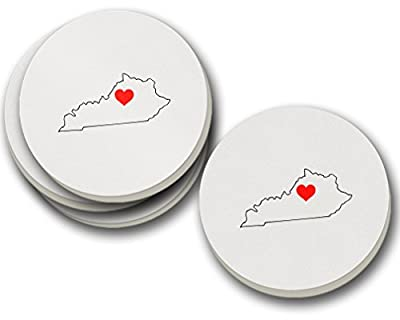 Kentucky Heart Love Sandstone Coasters Round Set of 4