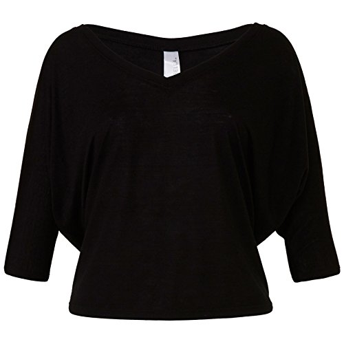 (Bella+Canvas-Womens-Flowy v-neck crop t-shirt-Dolman ½ sleeves-Easy, relaxed fit )