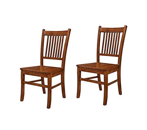- Premium Marbrisa Slat Back Side Chairs Sienna Brown (Set of 2)