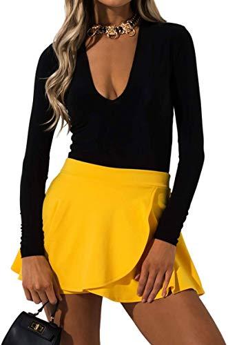 - AKIRA Women's Mustard Stretch Ribbed Knit High Waist Wrap Skirt Skort-Bright Yellow_M