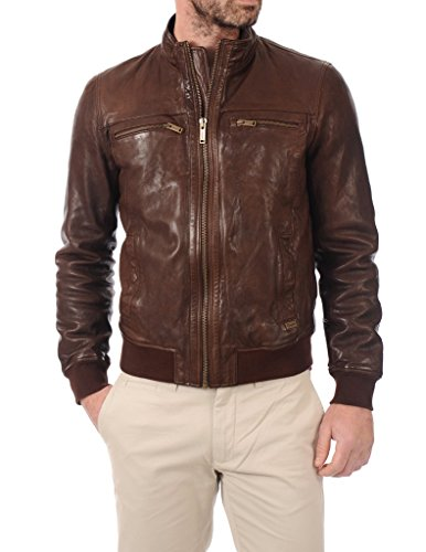LEATHER FARM Men's Lambskin Leather Bomber Motercycle Jacket XX-Large Brown by LEATHER FARM (Image #1)