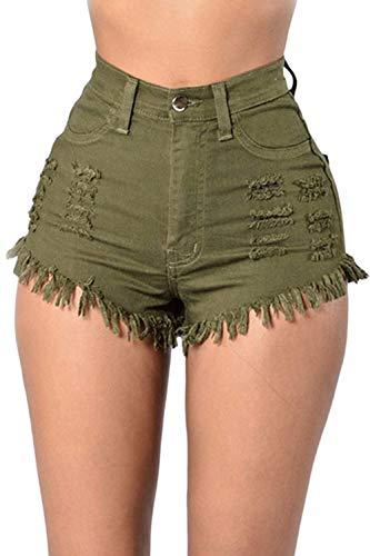Huixin Estiramiento Cintura Color Corto Grüne Calientes Cortos Larga Con Sólido Pantalones Vaqueros Alta Lágrima Jeansshort Bolsillos Stretch rWBx8qrgtw