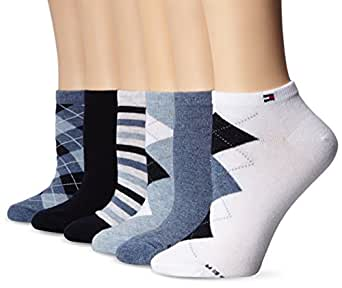 Tommy Hilfiger Women's 6-pack Argyle and Stripe Sock, Assorted/Blue, One Size