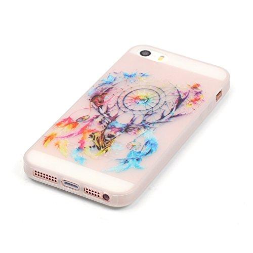 Samsung Galaxy S4 MiniCaso Funda,[Con Gratis Negro Kickstand] Keyye [Creativo luminoso duradero] Silicone Funda,Acuarela Imprenta Patrón [Anti-polvo] Exfoliante suave Transparente Delgado Gel TPU Piel Venado Sika Campanas de viento