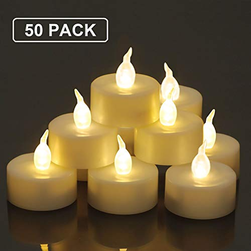 Homemory 50 Pack Warm White LED Tealight Candles Flameless Flickering Tea Lights Bulk Battery Operated
