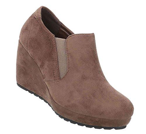 Schuhcity24 Damen Schuhe Stiefeletten Keil Wedges Boots Hellbraun