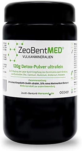 ZeoBent MED® Detox-Pulver ultrafein 120 g im Violettglas, CE zertifiziertes Medizinprodukt