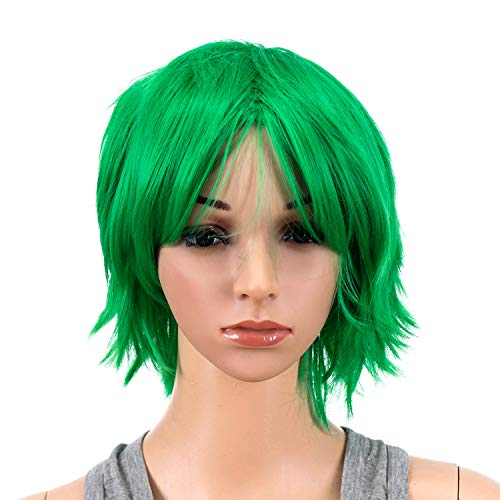 SWACC Unisex Fashion Spiky Layered Short Anime Cosplay Wig for Men and Women (St Patricks Green)]()