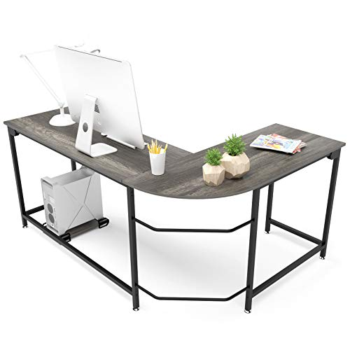Hago Modern L-Shaped Desk Corner Computer Desk Home Office Study Workstation Wood & Steel PC Laptop Gaming Table (Large, Black Oak) (Home For Tall Desks Computer)