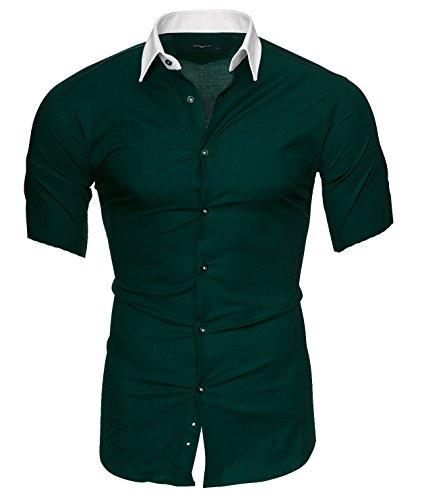 L Corte modello Camicia Cotone Slim Uomo Florida Xxl Fit Stiro Xl Maniche M Facile 2xl Darkgreen Maimi Originale S Kayhan wRzaq7f