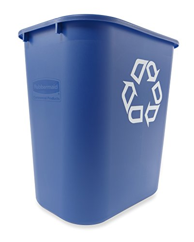 Rubbermaid Commercial Deskside Recycling Container Medium 7 Gallon Blue Pack of 12 FG295673BLUE