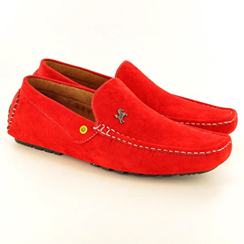Faux Loafers Shoes Casual Moccasins Mens Red Slip On Suede 4wEpUP