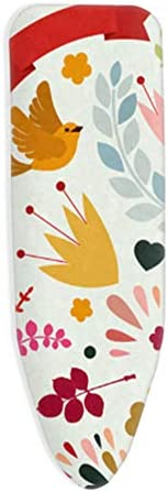tqwspad Ironing Board Cover, Universal, L/XL, Easy Fit, with pull cords and 4 clips, Scorch and Staining Resistant, Customizable ironing board cover, (120-125) x(40-45) cm,Flowers