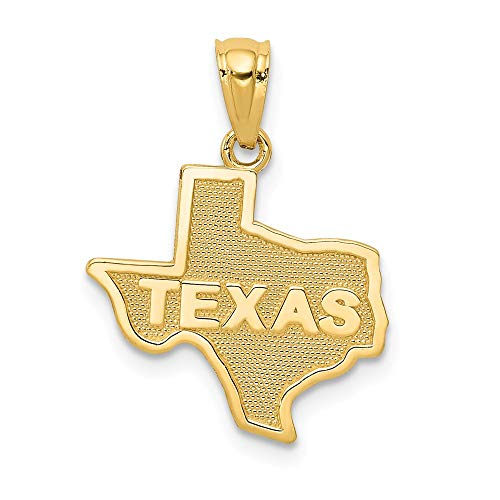 14k Yellow Gold State Of Texas Pendant Charm Necklace Travel Transportation Man Fine Jewelry Gift For Dad Mens For Him