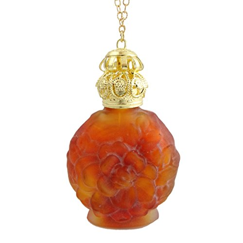 Frosted Glass Perfume Bottle Necklace in Orange - Vintage Style Perfume Holder Bottle