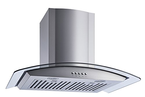 Winflo New 30″ Convertible Stainless Steel/Tempered Glass Wall Mount Range Hood with Stainless Steel Baffle filters, Ultra bright LED lights and Push Button 3 Speed Control