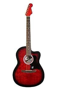 Lindo 933C Apprentice Serie - Guitarra acústica (con cutaway veneciano, con funda), color rojo