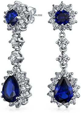 Bling Jewelry Simulated Sapphire CZ Dangle Earrings Rhodium Plated