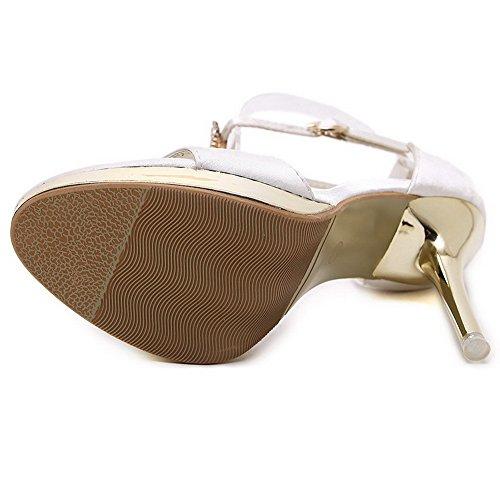 Amoonyfashion Kvinna Peep Toe Kick-häl Mjukt Material Fast Spänne Sandaler Beige