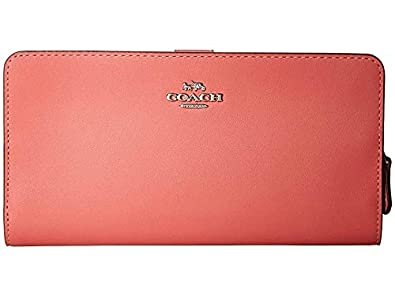b5857592e2e906 COACH Women's Skinny Wallet in Smooth Leather Bright Coral/Silver One Size