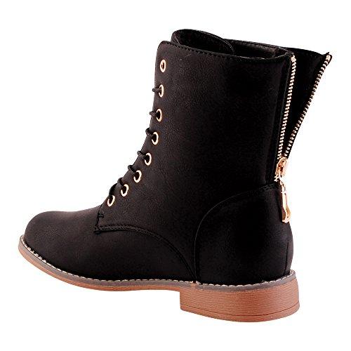 Damen Schnür Stiefeletten Biker Boots Stiefel Warm Gefütterte Schuhe Schwarz EU 38