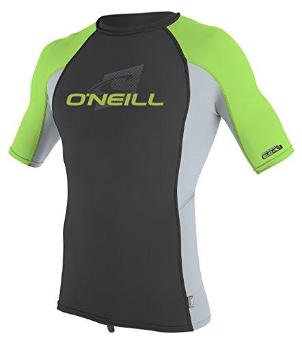 ONeill Wetsuits Youth Premium Skins Upf 50+ Short Sleeve Rash Guard,Black/Grey/Dayglo,12
